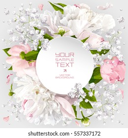 Romantic flower invitation or greeting card for wedding decoration, Valentine's Day, sales and other events with little white flowers and round paper label.