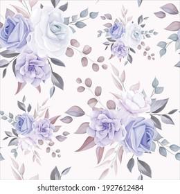 Romantic flower seamless pattern with purple flower decoration