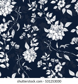 Romantic flowers with foliage pattern on a navy background. Vector.