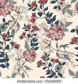 Romantic flowers with foliage pattern on a beige background. Vector.