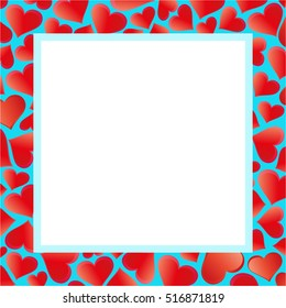 Romantic frame with  red hearts on a blue background. Red hearts on blue picture frame.