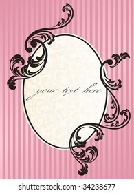 Romantic French retro frame in pink (vector); a jpg version is also available