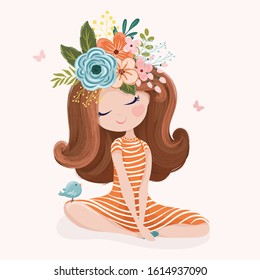Romantic girl with flower crown and little bird vector illustration.