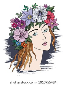 Romantic girl with flowers. For t-shirt design, poster, banner and other design.