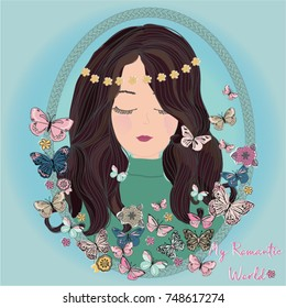 Romantic Girl Illustration With Butterfly, cute girl vector,girl illustration, t-shirt print,book illustrations , romantic cards, wedding invitation, princess girl, young, beautiful,cute