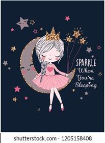 romantic girl on the moon dreamer girl vector illustration graphic design