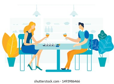 Romantic Gourmet Dinner Flat Vector Illustration. Young Woman and Man in Love Cartoon Characters. Husband and Wife Drinking Wine, Eating Seafood. Couple Celebrating Anniversary, Valentine Day