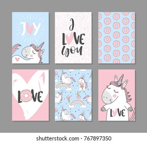 Romantic greeting cards with cute unicorns. Hand written text.