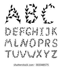 Romantic hand drawn Alphabet letters. Elegant writing. Vector calligraphy alphabet. Hand drawn letters.