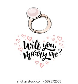 Romantic hand drawn vector illustration. Gold ring with pearl and lettering Will you marry me?