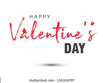 Romantic Happy Valentines Day typography poster with handwritten calligraphy text of happy valentines day, isolated on white background. Vector Illustration
