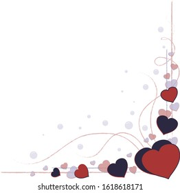 Romantic heart corner decoration with hearts and frame for Happy Valentines Day greeting card or Wedding invitation. Vector border template.