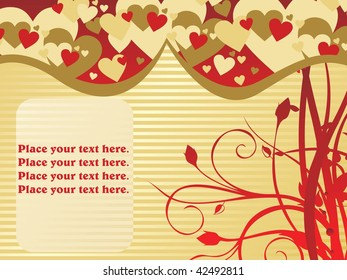 romantic heart, floral background with sample text