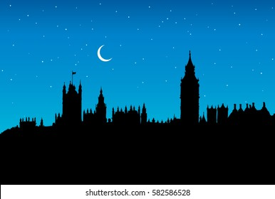 Romantic historic downtown with medieval gothic edifice and space for text on blue nightfall starry sky backdrop. Gloaming scenic urban view. Dark ink drawn picture in retro engraving graphic style