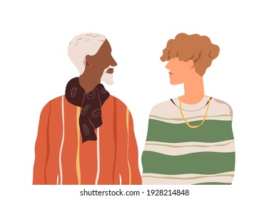Romantic homosexual couple of two enamored men of different age and race. Multiracial love partners. Colored flat vector illustration of gay boyfriends isolated on white background