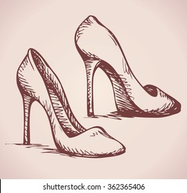 Romantic icon of two classic women's footgear item isolated on white background. Freehand ink hand drawn picture sign sketchy in art doodle style pen on paper. Closeup side view with space for text
