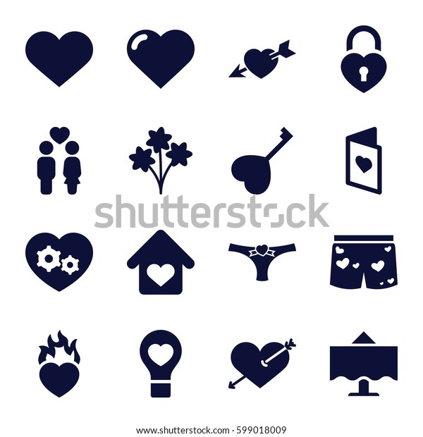 romantic icons set. Set of 16 romantic filled icons such as heart, heart with arrow, couple, love card, love home, restaurant table