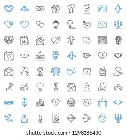 romantic icons set. Collection of romantic with candelabra, love, cupid, love letter, lipstick, wedding dress, kiss, heart, wedding arch. Editable and scalable romantic icons.
