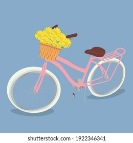 Romantic illustration about spring featuring a bicycle with a flower basket in pastel colours. Retro bike with basket and flowers. Vector illustration.