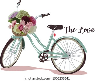 Romantic illustration with a bike with a basket of pastel flowers