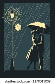 Romantic Illustration. Couple in Love in the Rain