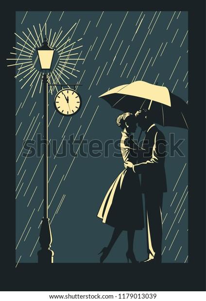 Romantic Illustration Couple Love Rain Stock Vector Royalty Free