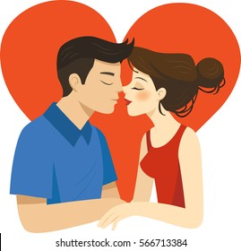 Romantic illustration of Kissing couple on a white background. A Man gonna kiss His Girlfriend on valentine's day.