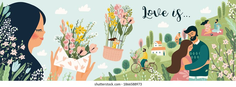 Romantic illustrations with men and women. Love, love story, relationship. Vector design banner for Valentines Day and other users.