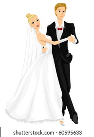 A Romantic Image of the Newlyweds Dancing the Waltz - Vector