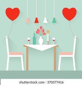 Romantic interior of a dining room. Flat design illustration