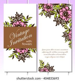 Vector wedding invitations set lavender flowers em vetor stock romantic invitation wedding marriage bridal birthday stopboris Images