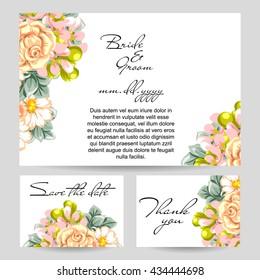 Wedding invitation thank you card save em vetor stock 148468268 romantic invitation wedding marriage bridal birthday stopboris Images
