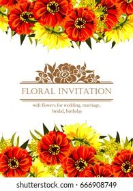Romantic invitation. Wedding, marriage, bridal, birthday, Valentine's day.