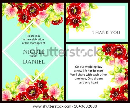 Romantic Invitation Wedding Marriage Bridal Birthday Stock Vector