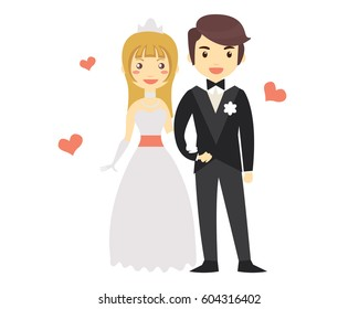 Romantic Isolated Young Wedding Couple Character Illustration