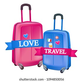 Romantic journey, suitcases pink and blue. Baggage, vacation, time of travel, hi summer. Romantic trip. White without background.
