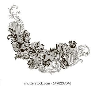 romantic lace flowers decoration element