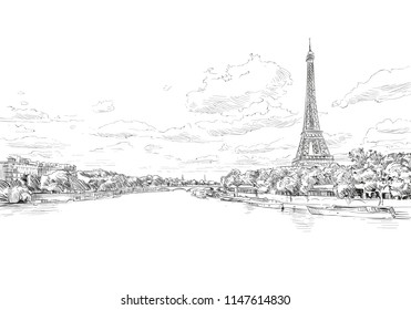 Romantic landscape view of the Eiffel Tower and Sena River. Paris, France. Urban sketch. Hand drawn vector illustration