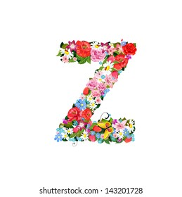 Romantic letter of beautiful flowers Z
