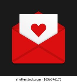 Romantic letter. Graphic template. Vector illustration