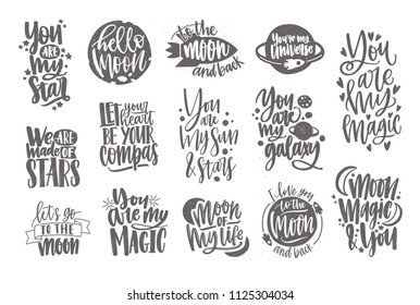 Romantic lettering written with elegant cursive calligraphic font and decorated by decorative elements. Love and romance inscriptions isolated on white background. Monochrome vector illustration.