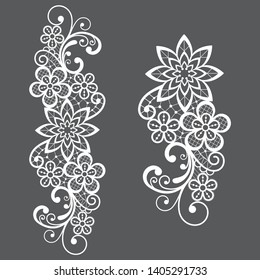 Romantic loral retro lace vector long pattern, ornamental design with flowers and swirls. Embroidery wedding, textile decoration inspired by French and English lace art, vintage style