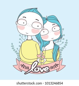 Romantic love of boy and girl. Showing hands in heart sign. Valentine or Wedding cards.