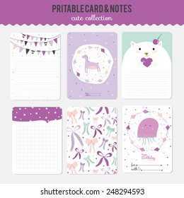 Romantic and love cards, notes, stickers, labels, tags with cute ornament illustrations. Template for scrapbooking, wrapping, notebooks, notebook, diary, decals, school accessories