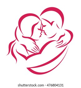 romantic love couple icon, stylized vector symbol of man and woman