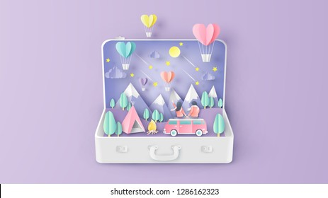 Romantic of love couple travel sit on the van car and look the heart shape hot air balloon float up to sky inside suitcase. Graphic for Valentine's. paper cut and craft style. vector, illustration.