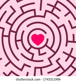 Romantic love heart in the center of the labyrinth - difficulty, problem and troble to find love, romance and amorous affection. Vector illustration