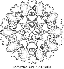 Romantic love mandala, black on transparent isolated doodle coloring mandala with heart gems shapes, for  coloring, wedding invitations decor, Valentine's day activity.