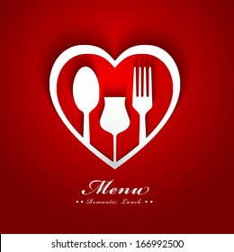 Romantic lunch menu cover design with paper heart fork spoon cup and shadow effect concept