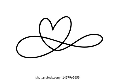 Romantic monoline infinity calligraphy vector Heart love sign. Hand drawn icon of valentine day. Concepn symbol for greeting card, poster wedding. Design flat element illustration